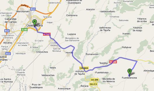 Mapa de la ruta desde Guadalajara a Fuentelencina por Carretera